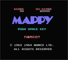 Title screen of Mappy on the MSX.
