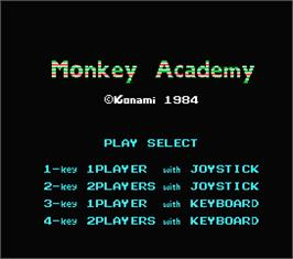 Title screen of Monkey Academy on the MSX.