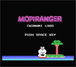 Title screen of Mopiranger on the MSX.