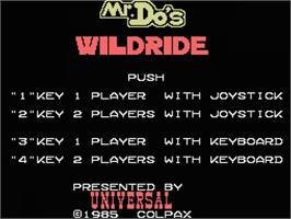 Title screen of Mr. Do's Wild Ride on the MSX.