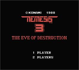 Title screen of Nemesis 3: The Eve of Destruction on the MSX.