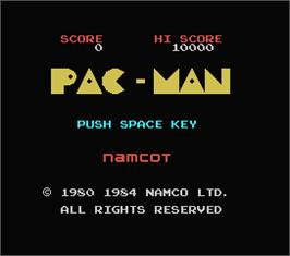 Title screen of Pac-Man on the MSX.