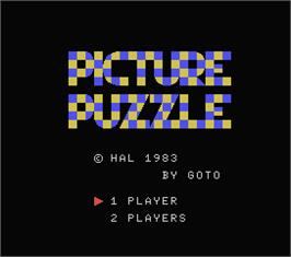 Title screen of Picture Puzzle on the MSX.