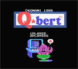 Title screen of Q*bert on the MSX.