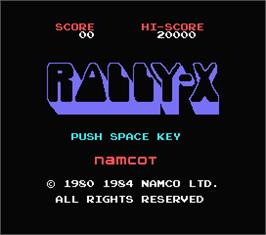 Title screen of Rally X on the MSX.