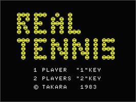 Title screen of Real Tennis on the MSX.