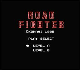 Title screen of Road Fighter on the MSX.