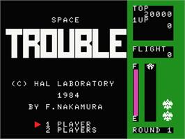 Title screen of Space Trouble on the MSX.