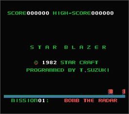 Title screen of Star Blazer on the MSX.
