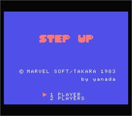 Title screen of Step Up on the MSX.