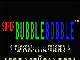 Title screen of Super Bubble Bobble on the MSX.