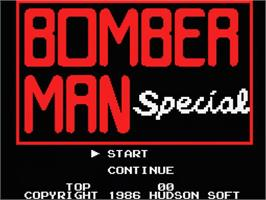 Title screen of Super Rambo Special on the MSX.