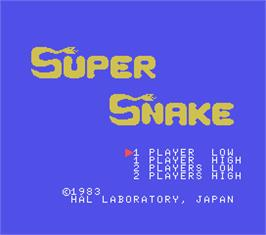 Title screen of Super Snake on the MSX.