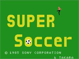 Title screen of Super Soccer on the MSX.
