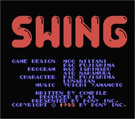 Title screen of Swing on the MSX.