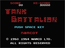 Title screen of Tank Battalion on the MSX.