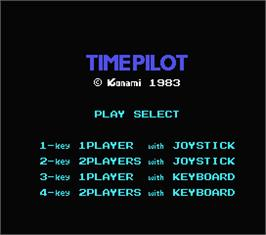 Title screen of Time Pilot on the MSX.