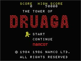 Title screen of Tower of Druaga on the MSX.