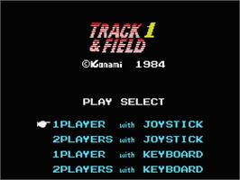 Title screen of Track & Field on the MSX.