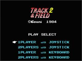 Title screen of Track & Field 2 on the MSX.