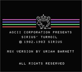 Title screen of Turmoil on the MSX.