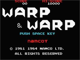 Title screen of Warp & Warp on the MSX.