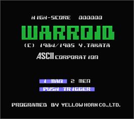 Title screen of Warroid on the MSX.