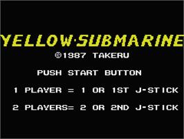 Title screen of Yellow Submarine on the MSX.