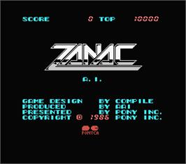 Title screen of Zanac EX on the MSX.