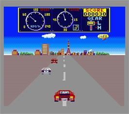 In game image of Road Fighter on the MSX 2.