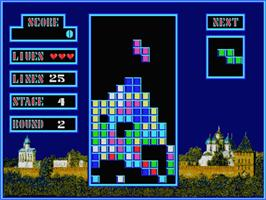 In game image of Tetris on the MSX 2.