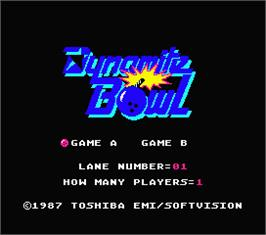 Title screen of Dynamite Bowl on the MSX 2.