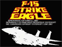 Title screen of F-15 Strike Eagle on the MSX 2.