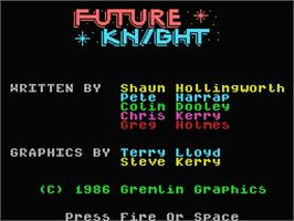 Title screen of Future Knight on the MSX 2.