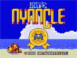 Title screen of Nyancle Racing on the MSX 2.