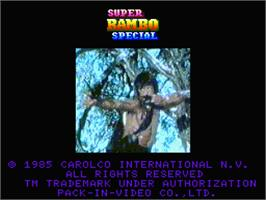 Title screen of Super Rambo Special on the MSX 2.