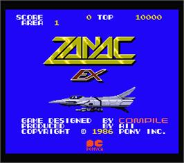 Title screen of Zanac EX on the MSX 2.