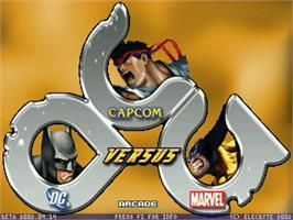 Title screen of DC vs Capcom vs Marvel on the MUGEN.