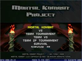 Title screen of Mortal Kombat Project 4.8 on the MUGEN.