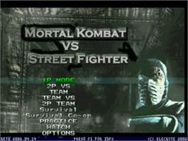 Title screen of Mortal Kombat vs Street Fighter on the MUGEN.