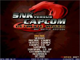 Title screen of SNK vs Capcom Ultimate Mugen 3rd Battle Edition v2.0 on the MUGEN.