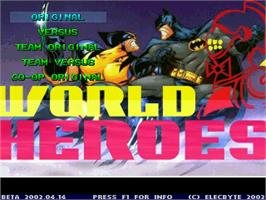 Title screen of World Heroes on the MUGEN.
