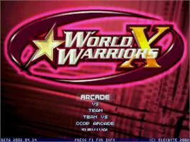 Title screen of World Warriors X on the MUGEN.