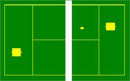 In game image of Tennis, Analogic, Hockey, Football on the Magnavox Odyssey.