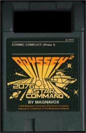 Cartridge artwork for Cosmic Conflict! on the Magnavox Odyssey 2.