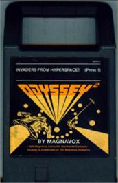 Cartridge artwork for Invaders from Hyperspace! on the Magnavox Odyssey 2.