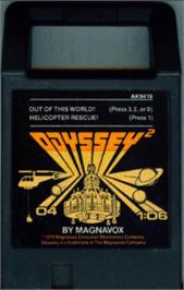 Cartridge artwork for Out of this World on the Magnavox Odyssey 2.