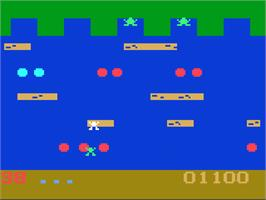 In game image of Frogger on the Magnavox Odyssey 2.
