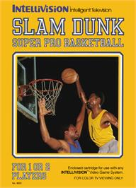 Box cover for Slam Dunk: Super Pro Basketball on the Mattel Intellivision.