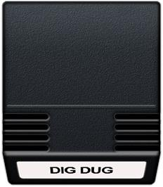 Cartridge artwork for Dig Dug on the Mattel Intellivision.